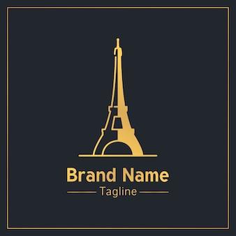 Modello di logo moderno dorato di torre eiffel