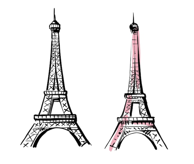 Schizzo disegnato a mano della torre eiffel.