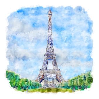 Illustrazione disegnata a mano di schizzo dell'acquerello di parigi francia di torre eiffel