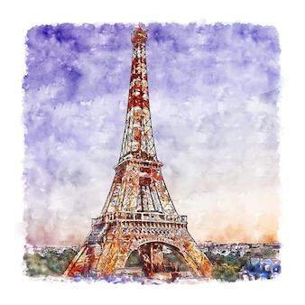Illustrazione disegnata a mano di schizzo dell'acquerello della torre eiffel parigi francia