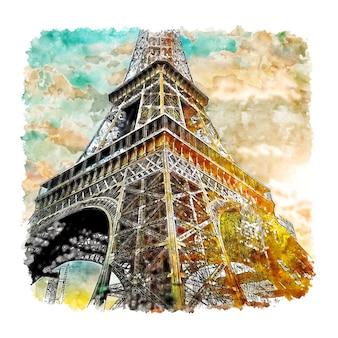 Disegnato a mano di schizzo dell'acquerello di torre eiffel parigi francia