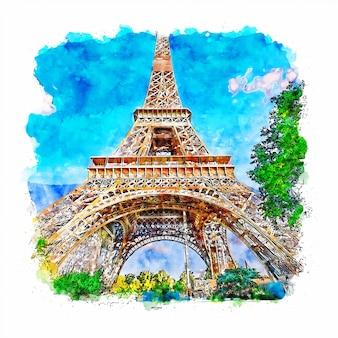 Illustrazione disegnata a mano di schizzo dell'acquerello di parigi della torre eiffel