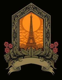 Torre eiffel con illustrazione di ornamento d'epoca