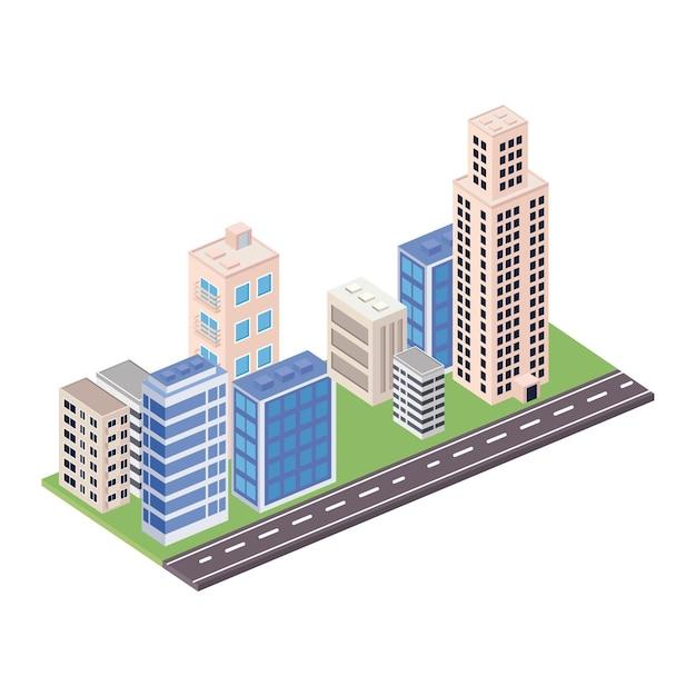 Otto edifici e scena stradale