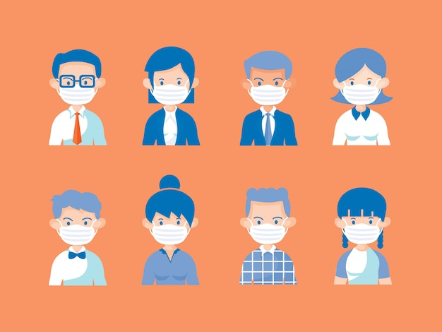 Otto personaggi diversi usano la mascherina medica