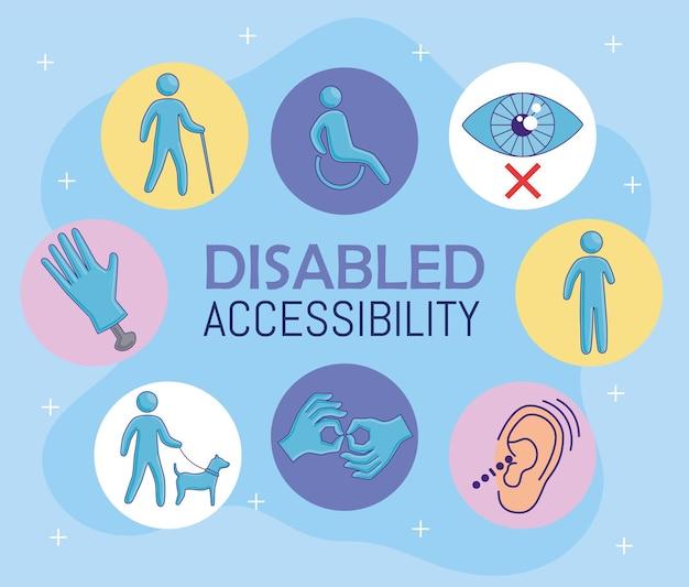 Otto icone di accessibilità per disabili