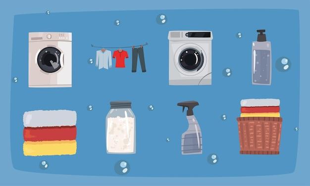 Otto icone del set di servizi di lavanderia