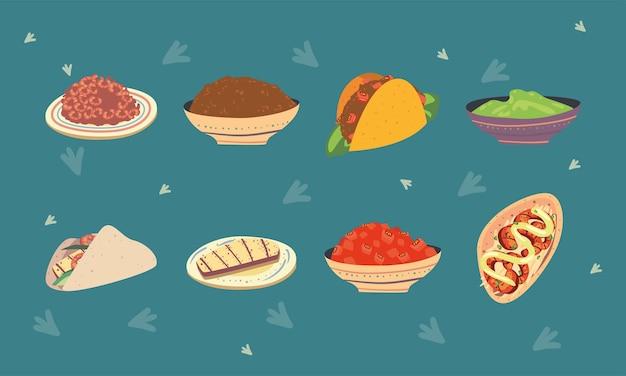 Otto icone di tacos messicani