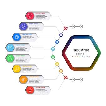 Otto elementi esagonali multicolori con icone di linea sottile nel modello di infografica aziendale