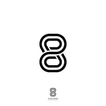 Eight number line logo Vettore Premium