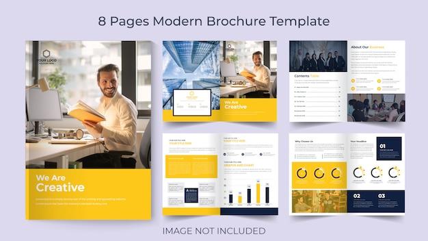 Modello dell'opuscolo di affari del volantino corporativo di otto pagine