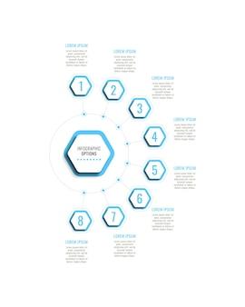 Modello di infografica verticale a otto passaggi con elementi esagonali azzurri su sfondo bianco