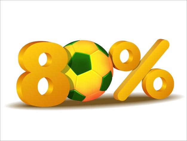 Icona di sconto dell'ottanta per cento con pallone da calcio brasile