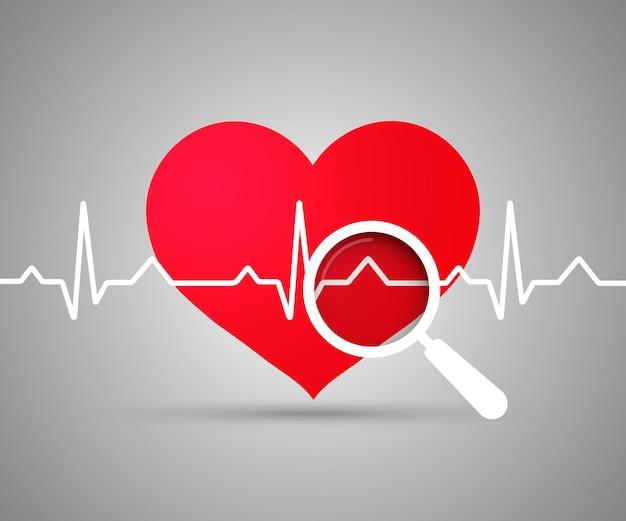 Ecg cuore. cuore rosso con ekg su bianco - design medico. elettrocardiogramma, battito cardiaco, lente d'ingrandimento