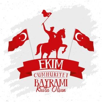 Manifesto di celebrazione di ekim bayrami con soldato a cavallo sventolando bandiera e cornice a nastro