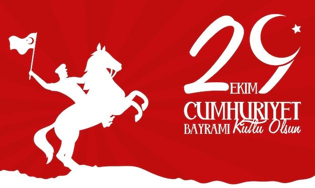 Celebrazione di ekim bayrami con soldato a cavallo sventolando bandiera