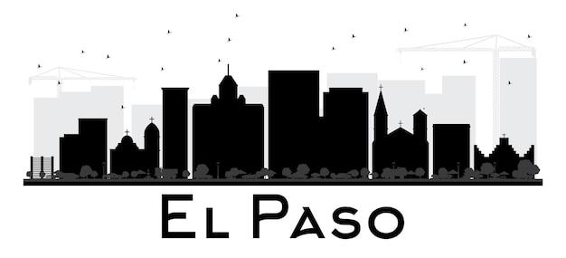 Siluetta in bianco e nero dell'orizzonte della città di el paso. semplice concetto piatto per presentazione turistica, banner, cartellone o sito web. paesaggio urbano con punti di riferimento. illustrazione vettoriale.