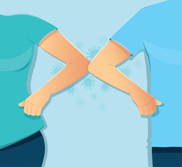 Concetto di urto del gomito saluto sicuro per prevenire covid19