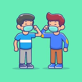 Illustrazione dell'icona della gente dell'urto del gomito. personaggio dei cartoni animati della mascotte della gente di saluto del gomito.