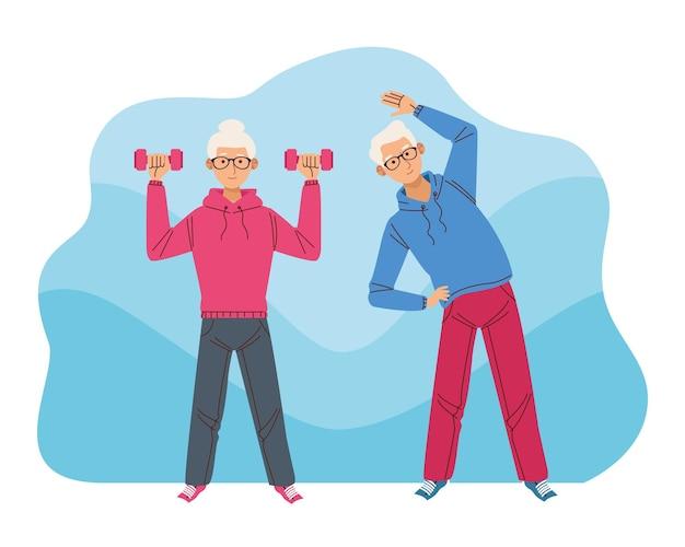 Atleti di coppia anziana Vettore Premium