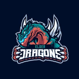 Logo della mascotte del drago anziano per esport e squadra sportiva
