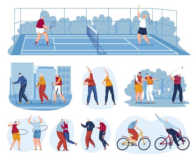 Persone anziane attive impostare illustrazione vettoriale felice vecchio uomo donna coppia personaggio giocare a tennis e golf camminare attività pensionamento