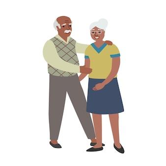 Coppia anziana afroamericana vecchio uomo e donna afroamericani famiglia felice