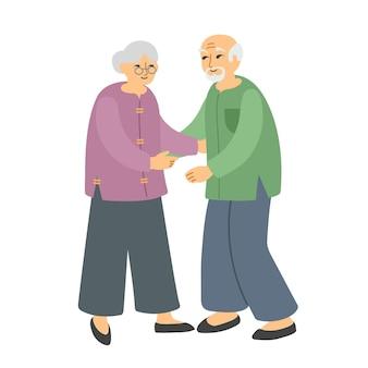 Coppia anziana asiatica uomo anziano e donna pronti ad abbracciare famiglia felice