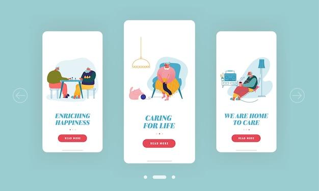 Personaggi anziani per il tempo libero rilassarsi nella pagina dell'app per dispositivi mobili