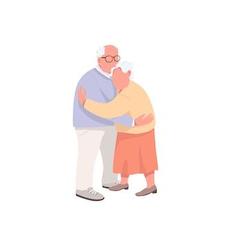 Personaggi senza volto di colore piatto coppia di anziani. matrimonio d'oro. nonna e nonno. illustrazione del fumetto isolata relazione familiare per web design grafico e animazione