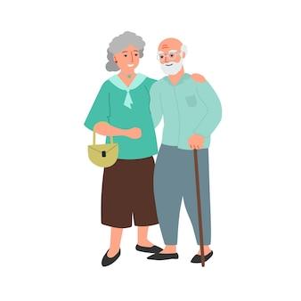 Coppia di anziani vecchio caucasico barbuto uomo e donna fumetto illustrazione di design piatto famiglia felice