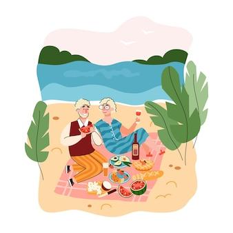 Picnic delle coppie anziane vicino all'illustrazione piana del fumetto del mare isolata. paesaggio della spiaggia estiva con personaggi di persone anziane che mangiano all'aperto.