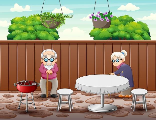 La coppia di anziani nell'illustrazione del ristorante