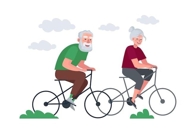 Coppia anziana di pensionati attivo stile di vita sano nonna e nonno nella vecchiaia in bicicletta Vettore Premium