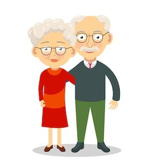 Coppia di anziani in piedi e abbracciare i personaggi dei nonni illustrazione vettoriale dei vecchi coniugi