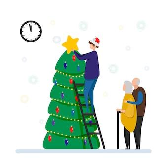 Una coppia di anziani e il loro figlio decorano l'albero di natale, capodanno, buon natale e capodanno a casa. festa in famiglia