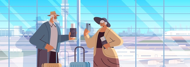Coppia di anziani di turisti nonni con bagagli passaporti e biglietti pronti per l'imbarco in aeroporto vacanza concetto di viaggio ritratto orizzontale illustrazione vettoriale