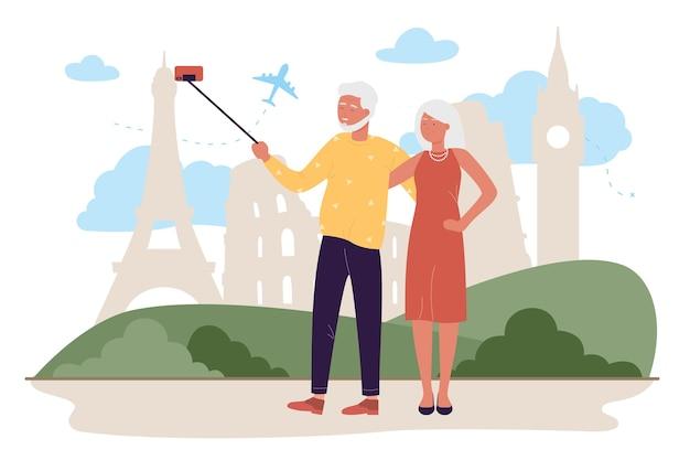 Coppia di anziani in viaggio