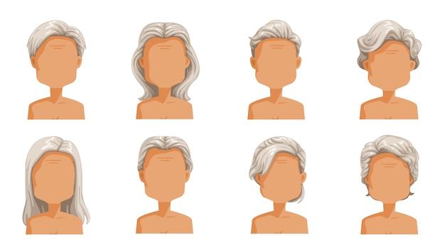 Acconciatura femminile anziana capelli donna anziana. set di capelli grigi di acconciature di donne del fumetto. collezione di tipi alla moda alla moda.