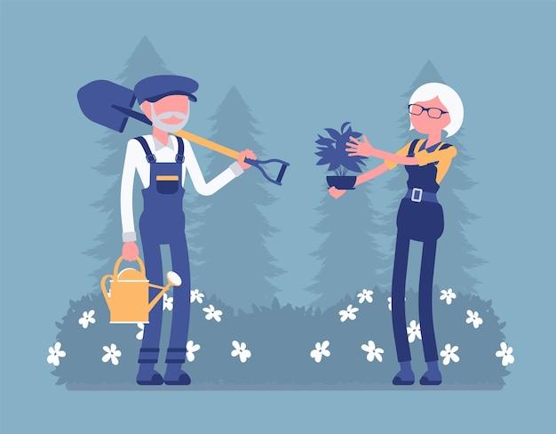 Giardinieri anziani che lavorano