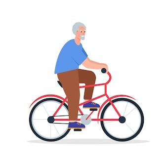 Uomo anziano in bicicletta sorridente felice personaggio in pensione andare in bicicletta persone anziane stile di vita attivo
