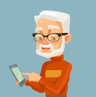 Carattere dell'uomo anziano che osserva sullo smartphone e massaggio di battitura a macchina tecnologie moderne
