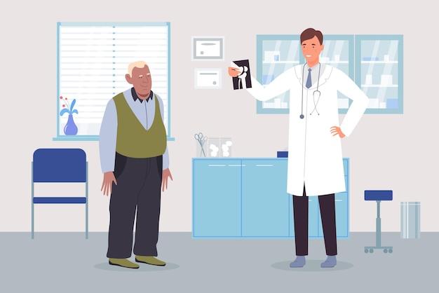 Uomo anziano all'appuntamento dei medici in clinica medica ospedale artrite osteoporosi