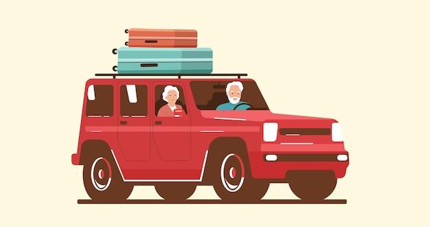 Uomo e donna anziani che guidano un'auto con bagagli sul tetto. illustrazione vettoriale.