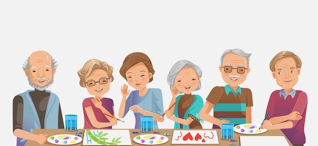 Pittura anziana. felice donna senior sorridente e amici mentre. disegnare insieme come attività ricreativa o terapia.