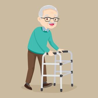 Paziente anziano con deambulatore medico ortopedico
