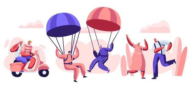 Illustrazione di concetto di stile di vita attivo persone anziane