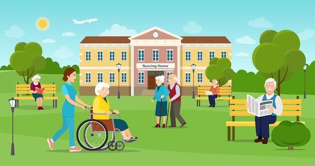 Gli anziani stanno camminando nel parco costruzione della casa di cura illustrazione di stile piano di vettore