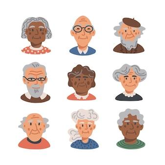 Set di avatar di persone anziane