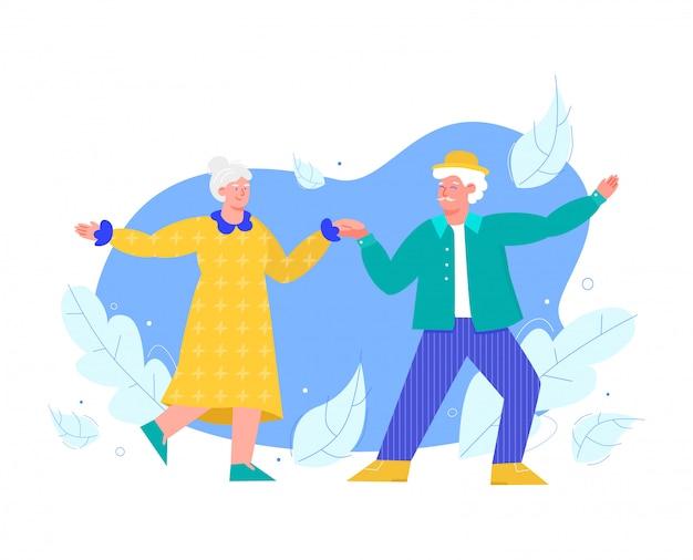 I personaggi delle persone anziane ballano tenendo le mani illustrazione piatta isolata.
